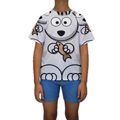 Bear Polar Bear Arctic Fish Mammal Kids  Short Sleeve Swimwear