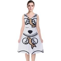 Bear Polar Bear Arctic Fish Mammal V Neck Midi Sleeveless Dress