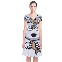 Bear Polar Bear Arctic Fish Mammal Short Sleeve Front Wrap Dress