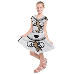 Bear Polar Bear Arctic Fish Mammal Kids  Short Sleeve Dress