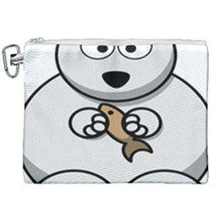 Bear Polar Bear Arctic Fish Mammal Canvas Cosmetic Bag (xxl)