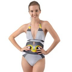 Cute Penguin Animal Halter Cut Out One Piece Swimsuit