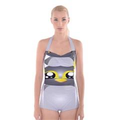 Cute Penguin Animal Boyleg Halter Swimsuit