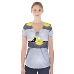 Cute Penguin Animal Short Sleeve Front Detail Top