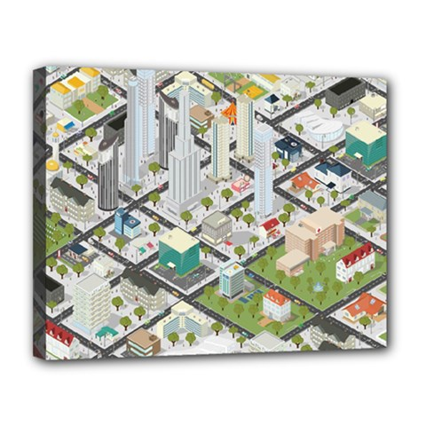Simple Map Of The City Canvas 14  X 11