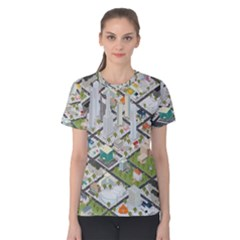 Simple Map Of The City Women s Cotton Tee