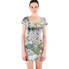 Simple Map Of The City Short Sleeve Bodycon Dress