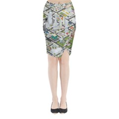 Simple Map Of The City Midi Wrap Pencil Skirt
