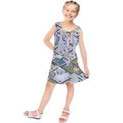 Simple Map Of The City Kids  Tunic Dress