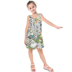 Simple Map Of The City Kids  Sleeveless Dress
