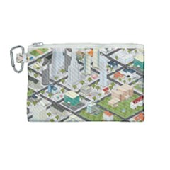 Simple Map Of The City Canvas Cosmetic Bag (medium)