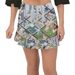 Simple Map Of The City Fishtail Mini Chiffon Skirt