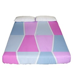 Geometric Pattern Design Pastels Fitted Sheet (queen Size)