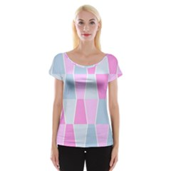 Geometric Pattern Design Pastels Cap Sleeve Tops