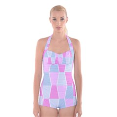 Geometric Pattern Design Pastels Boyleg Halter Swimsuit