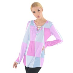 Geometric Pattern Design Pastels Tie Up Tee