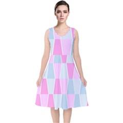 Geometric Pattern Design Pastels V Neck Midi Sleeveless Dress