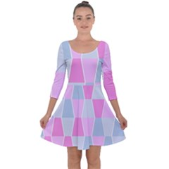 Geometric Pattern Design Pastels Quarter Sleeve Skater Dress