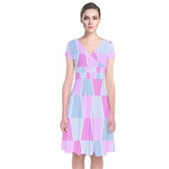 Geometric Pattern Design Pastels Short Sleeve Front Wrap Dress