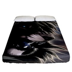 Angry Lion Digital Art Hd Fitted Sheet (queen Size)