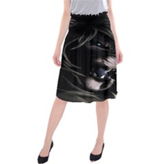 Angry Lion Digital Art Hd Midi Beach Skirt