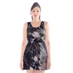 Angry Lion Digital Art Hd Scoop Neck Skater Dress