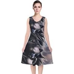 Angry Lion Digital Art Hd V Neck Midi Sleeveless Dress