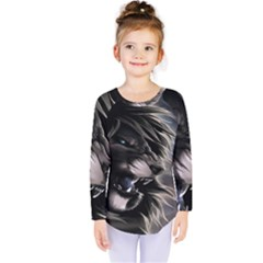 Angry Lion Digital Art Hd Kids  Long Sleeve Tee