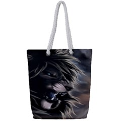 Angry Lion Digital Art Hd Full Print Rope Handle Tote (small)