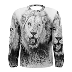 Lion Wildlife Art And Illustration Pencil Men s Long Sleeve Tee