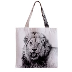Lion Wildlife Art And Illustration Pencil Zipper Grocery Tote Bag