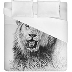 Lion Wildlife Art And Illustration Pencil Duvet Cover (king Size)