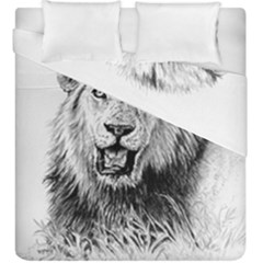 Lion Wildlife Art And Illustration Pencil Duvet Cover Double Side (king Size)