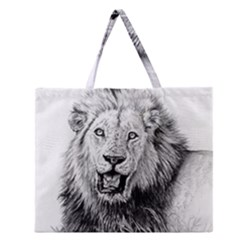Lion Wildlife Art And Illustration Pencil Zipper Large Tote Bag
