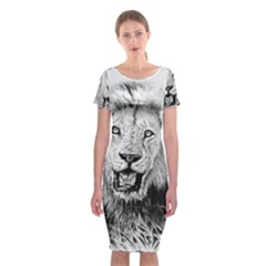 Lion Wildlife Art And Illustration Pencil Classic Short Sleeve Midi Dress