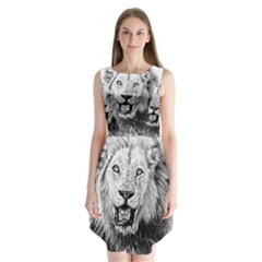 Lion Wildlife Art And Illustration Pencil Sleeveless Chiffon Dress