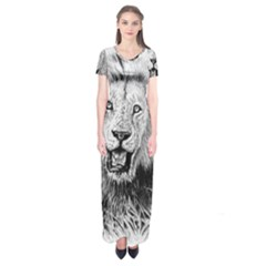 Lion Wildlife Art And Illustration Pencil Short Sleeve Maxi Dress