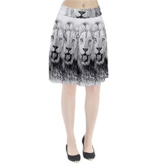 Lion Wildlife Art And Illustration Pencil Pleated Skirt