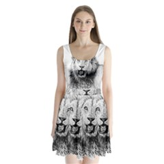 Lion Wildlife Art And Illustration Pencil Split Back Mini Dress