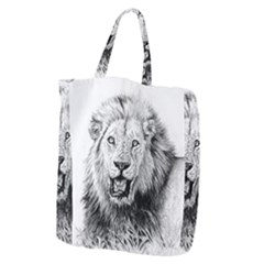 Lion Wildlife Art And Illustration Pencil Giant Grocery Zipper Tote by Nexatart
