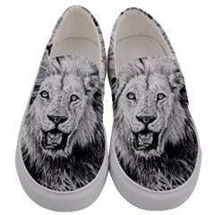 Lion Wildlife Art And Illustration Pencil Men s Canvas Slip Ons