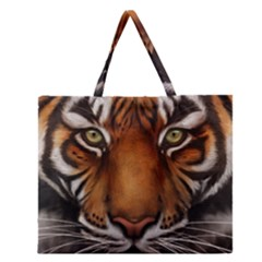 The Tiger Face Zipper Large Tote Bag