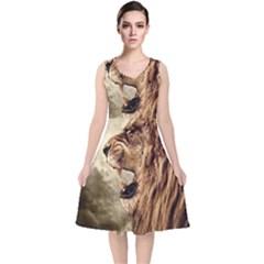 Roaring Lion V Neck Midi Sleeveless Dress