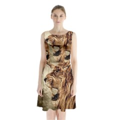 Roaring Lion Sleeveless Waist Tie Chiffon Dress
