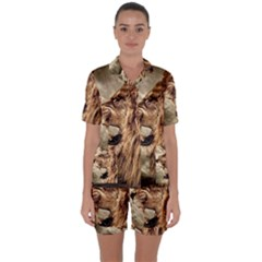 Roaring Lion Satin Short Sleeve Pyjamas Set