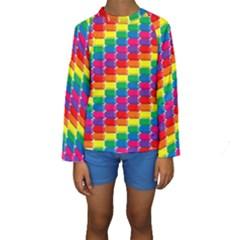 Rainbow 3d Cubes Red Orange Kids  Long Sleeve Swimwear