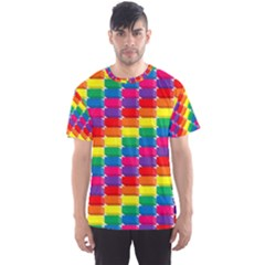 Rainbow 3d Cubes Red Orange Men s Sports Mesh Tee