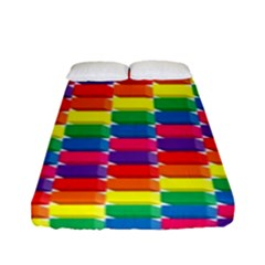 Rainbow 3d Cubes Red Orange Fitted Sheet (full/ Double Size) by Nexatart