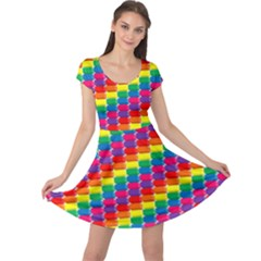 Rainbow 3d Cubes Red Orange Cap Sleeve Dress