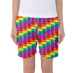 Rainbow 3d Cubes Red Orange Women s Basketball Shorts